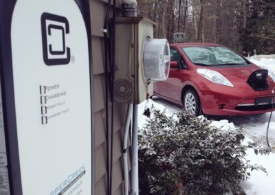 Nissan Leaf charging outdoors - Customer Percy