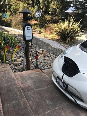 HCS-40 ChargeGuard charging a Nissan Leaf EV