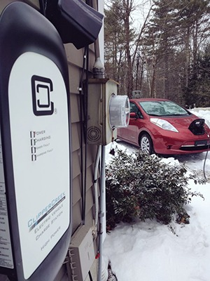 Nissan Leaf Charging with ClipperCreek EVSE outdoors in snow